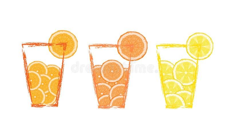 Reeks glazen met fruitdranken met sinaasappel, grapefruit, citroen, het dieet van de citrusvruchtendag, vector illustratie