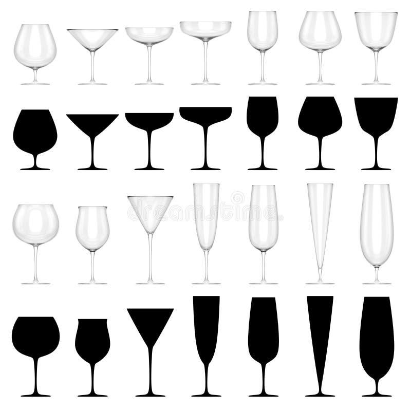 Reeks Glazen voor Alcoholische GEÏSOLEERDE Dranken - royalty-vrije illustratie