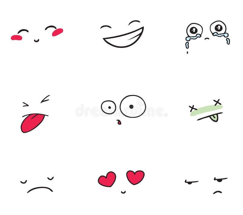 Reeks glimlachen vector illustratie