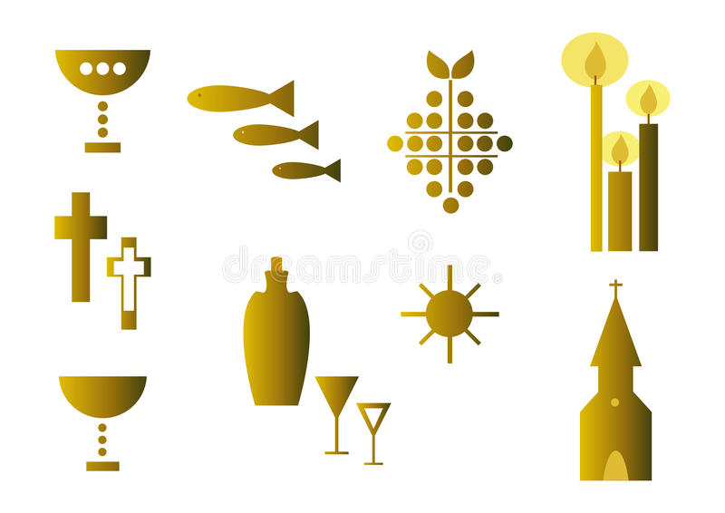 Reeks godsdienstige symbolen (goud) stock illustratie