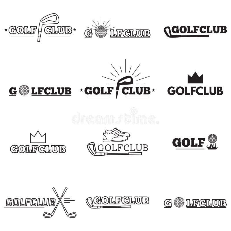 Reeks golfclubemblemen royalty-vrije illustratie