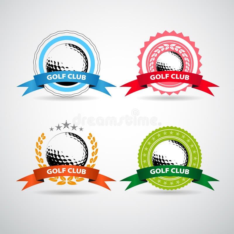 Reeks golfclubemblemen, etiketten en emblemen vector illustratie