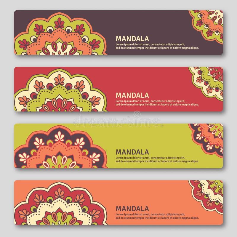 Reeks gorizontal kaarten met hand getrokken mandala Oosterse stijl, vector illustratie