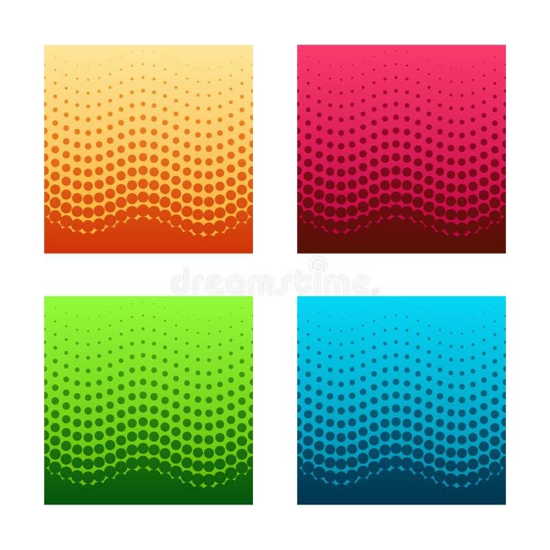Reeks gorizontal naadloze halftone patronen stock illustratie
