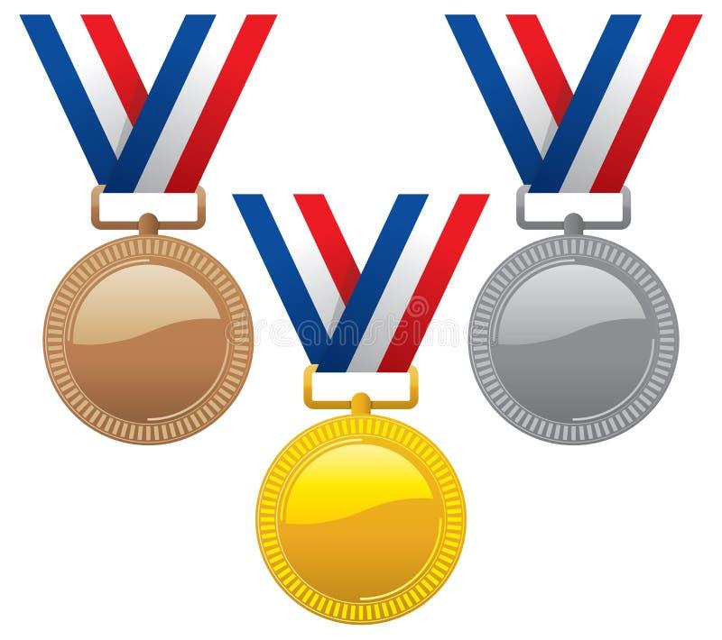Reeks goud, zilver en bronsmedailles stock illustratie