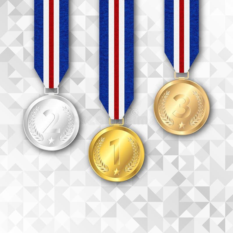 Reeks goud, zilver en bronstoekenningsmedailles royalty-vrije illustratie
