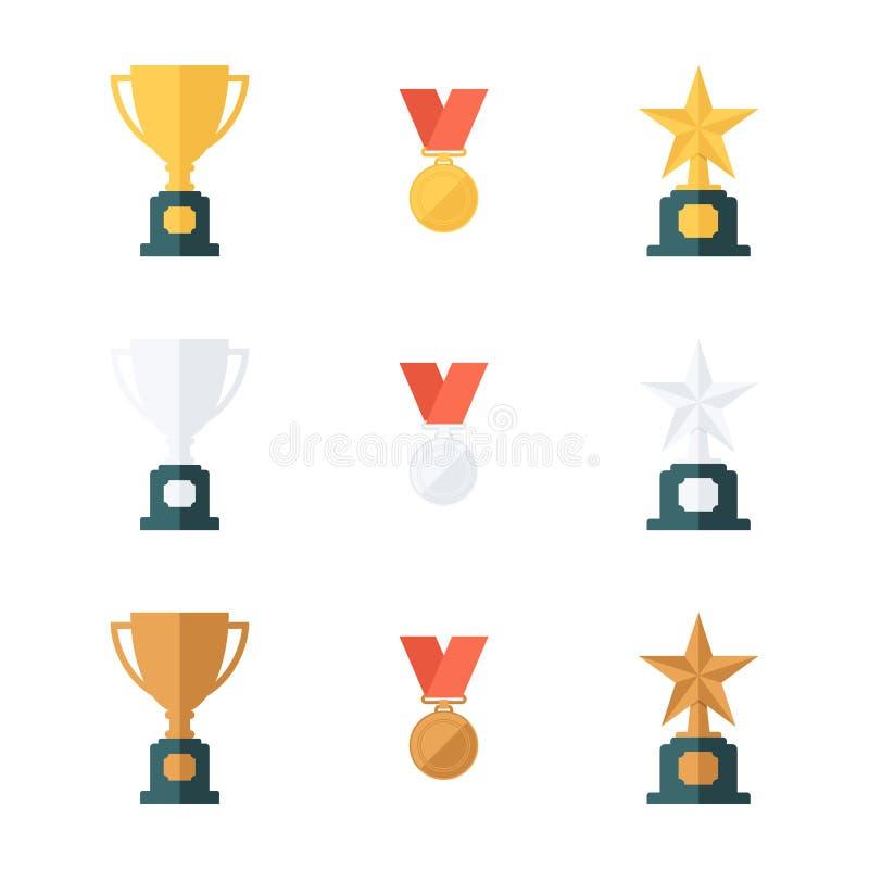 Reeks goud, zilver en bronstrofeekoppen, medailles en stertoekenning vector illustratie