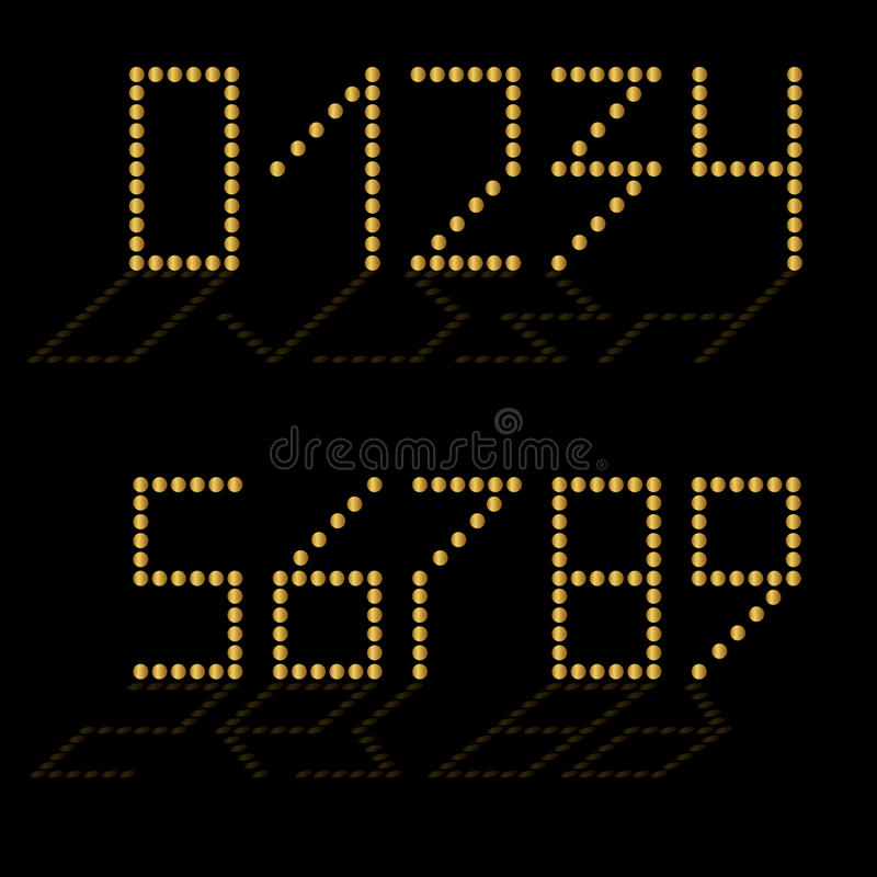 Reeks gouden aantallen met bezinning Geïsoleerde zwarte vector illustratie