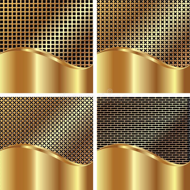 Reeks gouden achtergronden stock illustratie