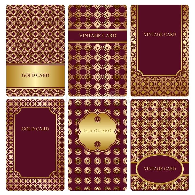 Reeks gouden adreskaartjemalplaatjes royalty-vrije illustratie