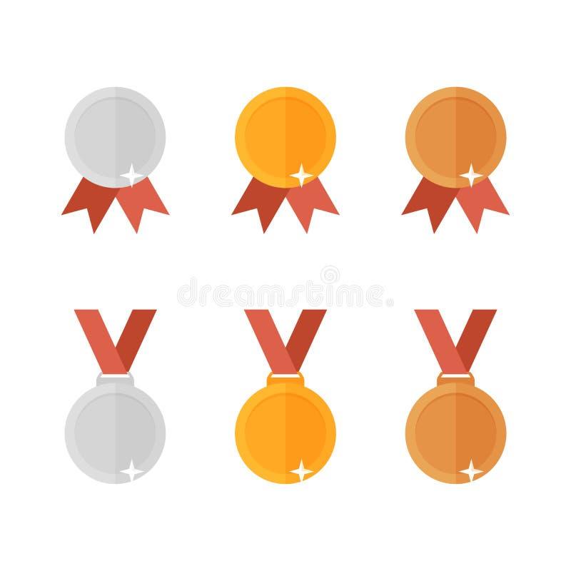 Reeks gouden die brons en zilveren medailles in vlakke stijl wordt uitgevoerd vector illustratie