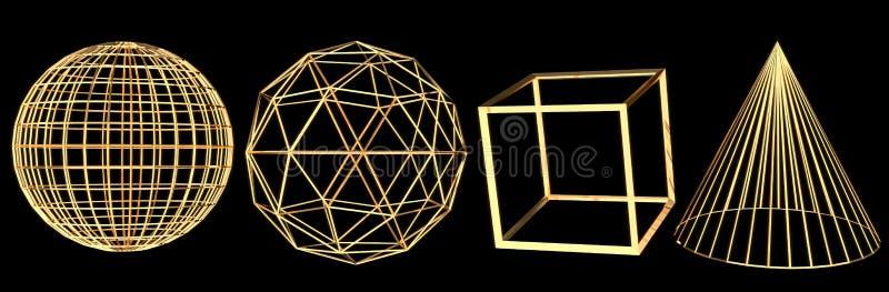Reeks gouden die wireframe 3D voorwerpen op zwarte achtergrond worden geïsoleerd stock illustratie
