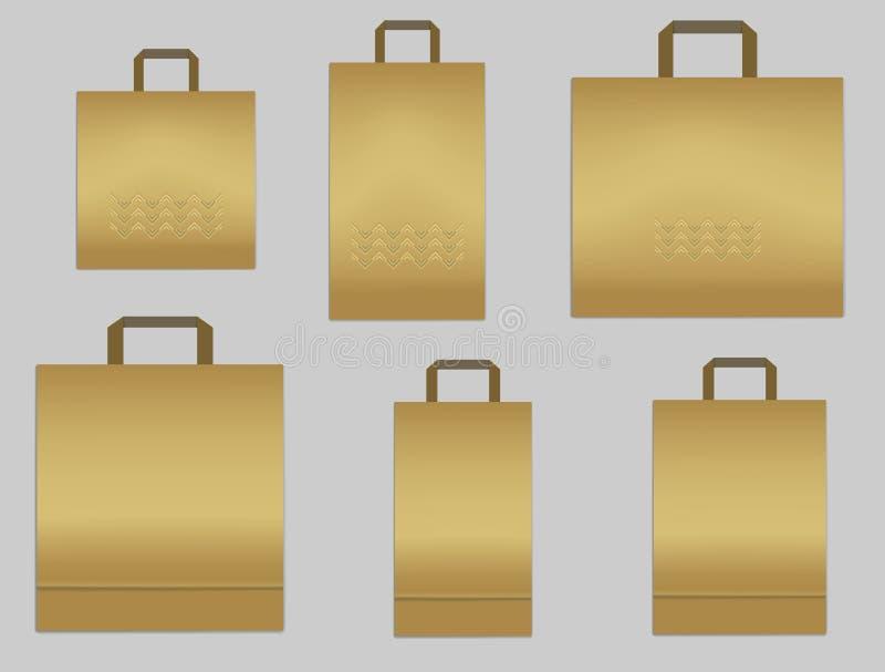 Reeks gouden document het winkelen zakken met omhoog handvatten, vectorspot vector illustratie