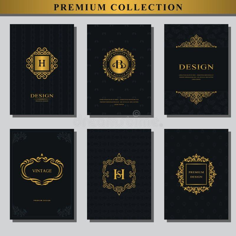 Reeks gouden emblemen Inzameling van ontwerpelementen, etiketten, pictogram, kaders, voor verpakking, ontwerp van luxeproducten E royalty-vrije illustratie