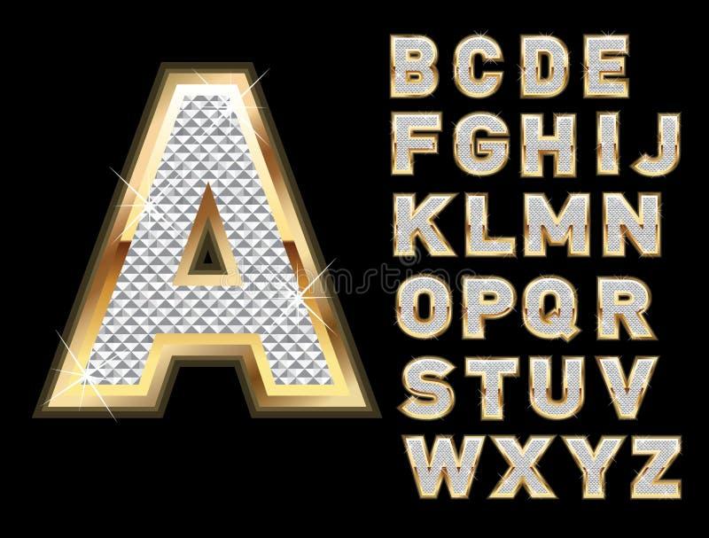 Reeks gouden en bling brieven vector illustratie