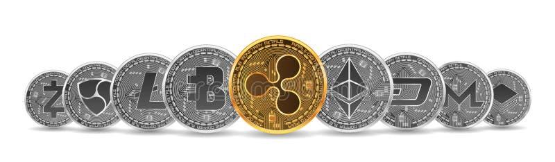 Reeks gouden en zilveren crypto munten royalty-vrije stock foto's