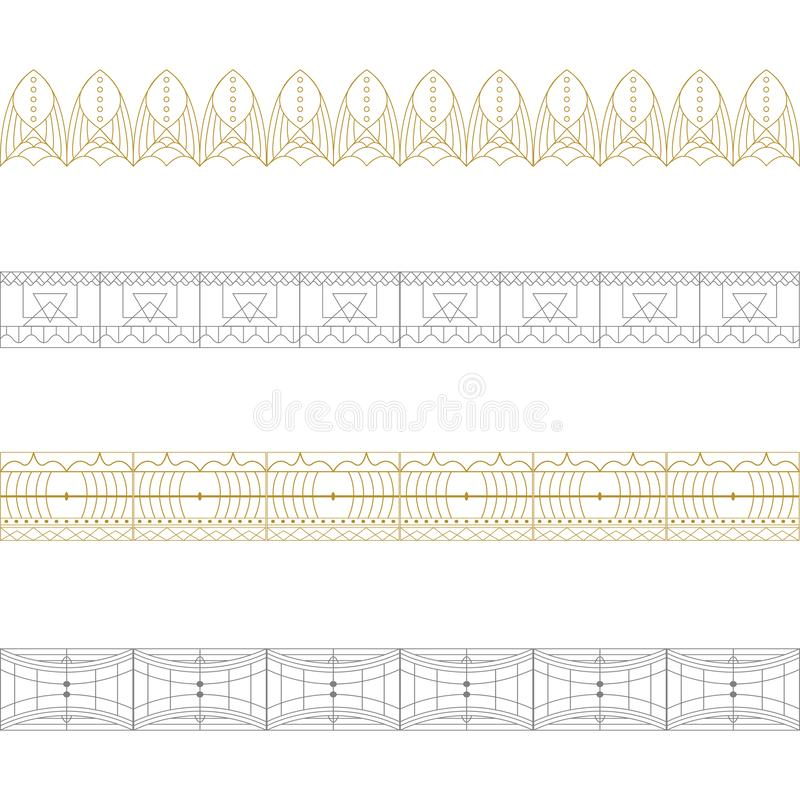 Reeks gouden en zilveren kantgrenzen, sierdocument lijnen, royalty-vrije illustratie
