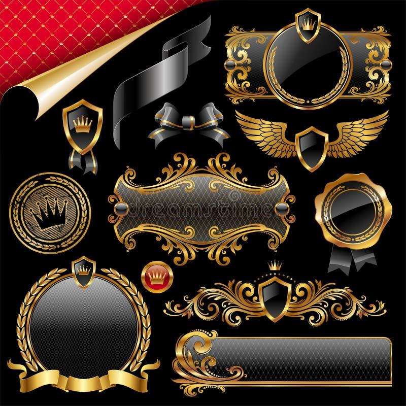 Reeks gouden en zwarte ontwerpelementen royalty-vrije illustratie