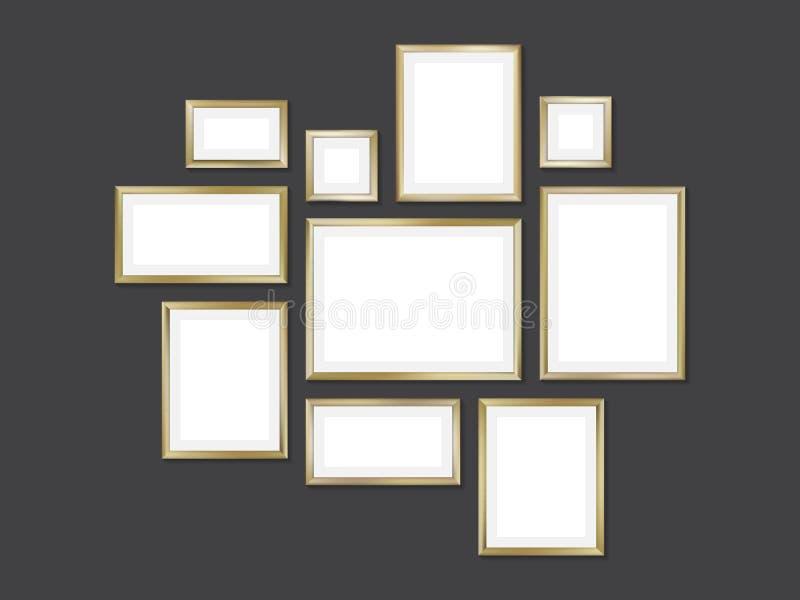 Reeks gouden frames vector illustratie