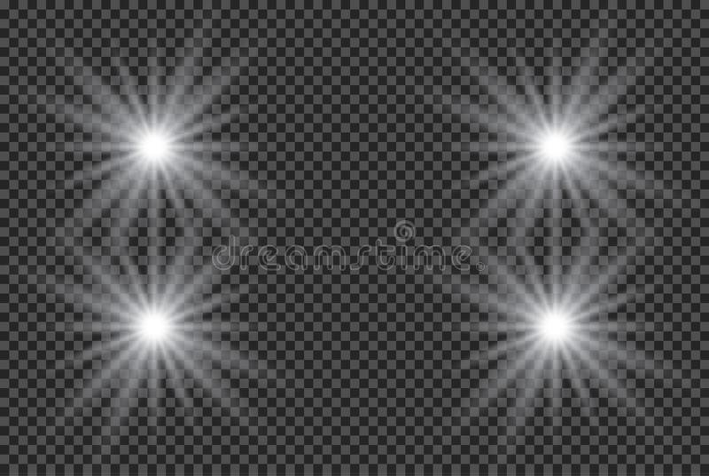 Reeks gouden het gloeien geïsoleerde lichteffecten voor transparante achtergrond Zonflits met stralen en schijnwerper Gloed licht vector illustratie