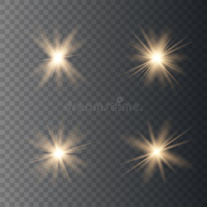 Reeks gouden het gloeien lichten vector illustratie