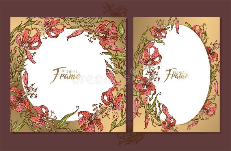 Reeks gouden kaarten van huwelijkskaders met een boeket van lelies stock illustratie