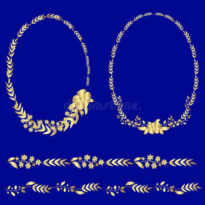Reeks gouden kronen en ornamenten stock illustratie