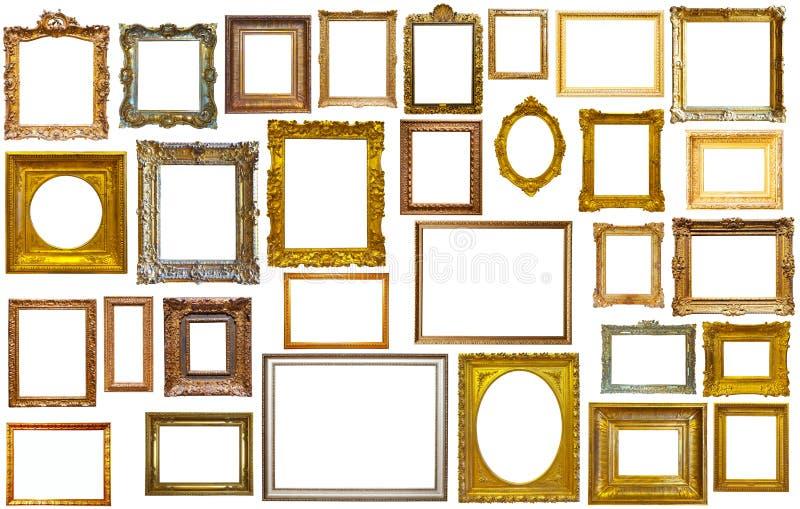 Reeks gouden kunstkaders stock afbeeldingen