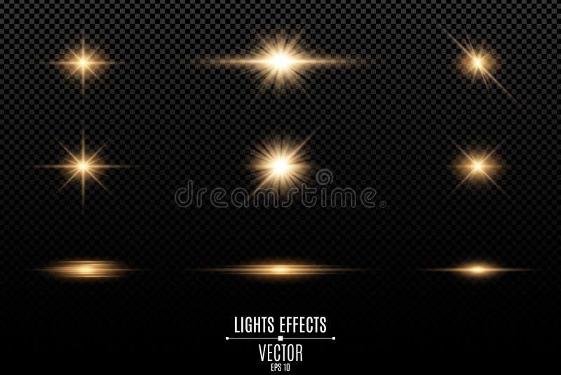 Reeks gouden lichteffecten voor een transparante achtergrond Flitsen en glans Heldere stralen van licht Gloeiende lijnen Vector royalty-vrije illustratie