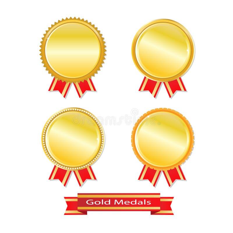Reeks gouden medailles royalty-vrije illustratie