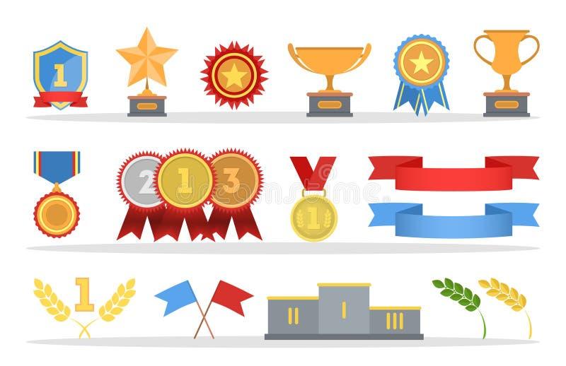Reeks gouden medailles en trofeekoppen stock illustratie