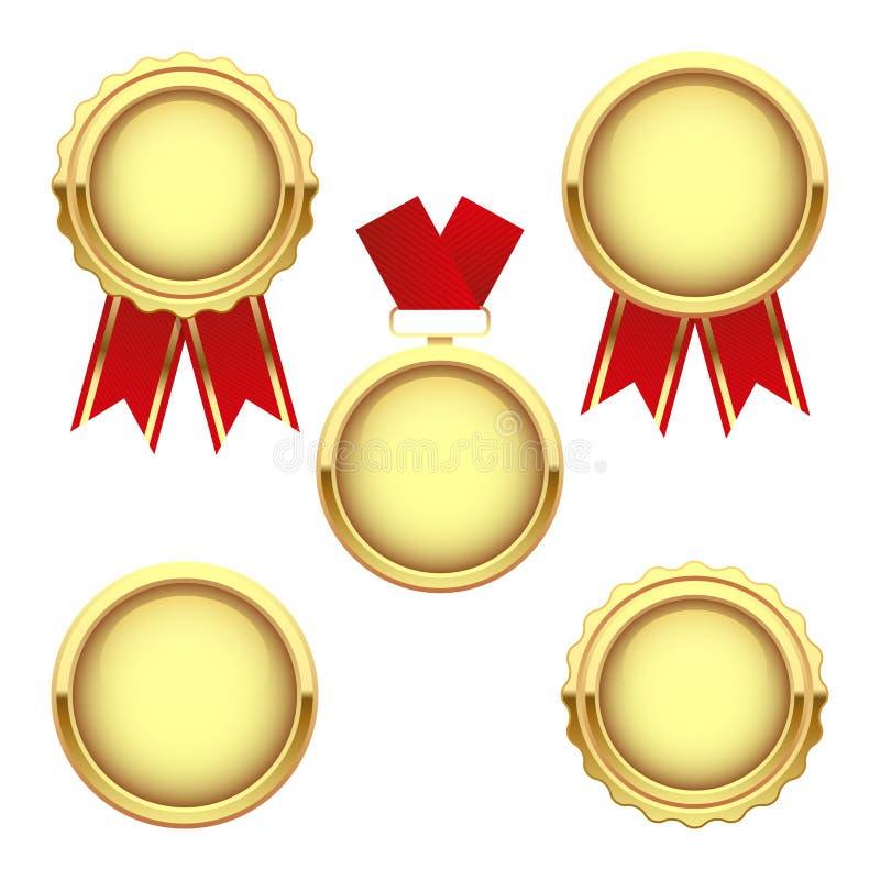 Reeks gouden medailletoekenning, vectortrofee stock illustratie