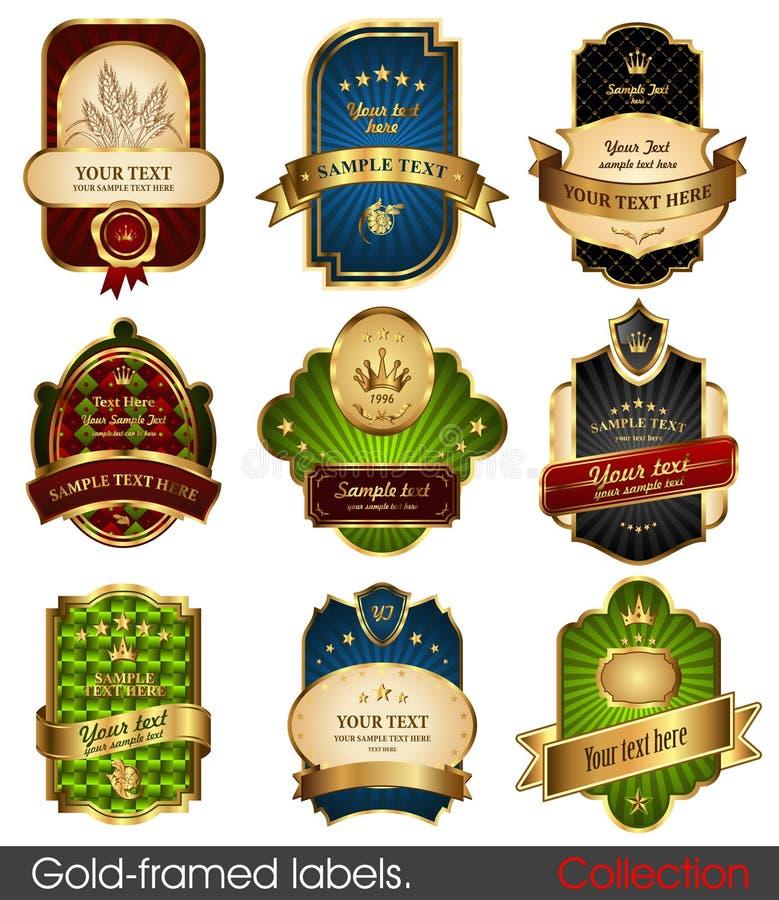 Reeks gouden-ontworpen etiketten vector illustratie