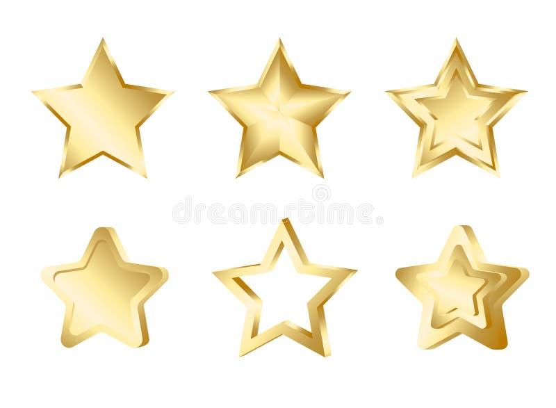 Reeks gouden sterren i stock illustratie