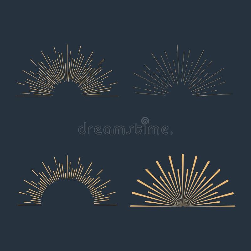 Reeks gouden uitstekende lineaire zonnestralen vector illustratie