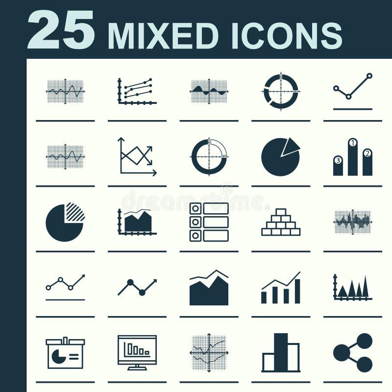 Reeks Grafieken, Diagrammen en Statistiekenpictogrammen Het Symboolinzameling van de premiekwaliteit De pictogrammen kunnen voor  stock illustratie