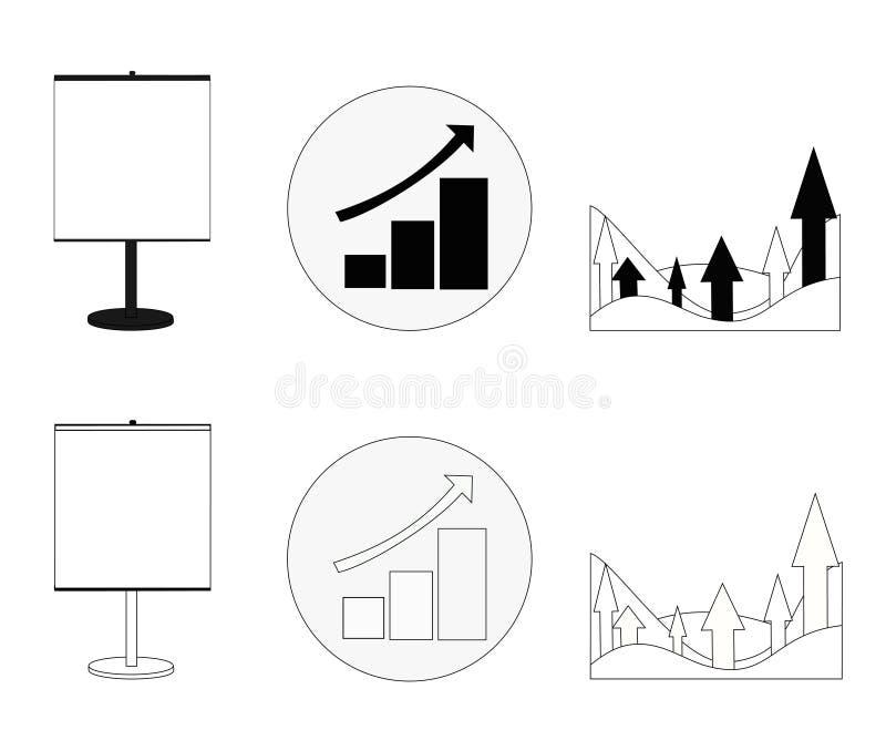 Reeks grafieken die de groeizaken in zwart-witte versie tonen vector illustratie