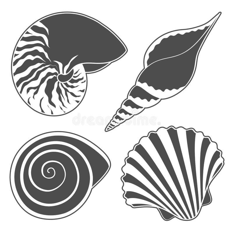 Reeks grafische overzeese shells voorwerpen stock illustratie
