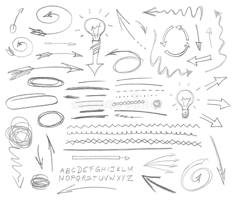 Reeks grafische tekens Potlood vector illustratie