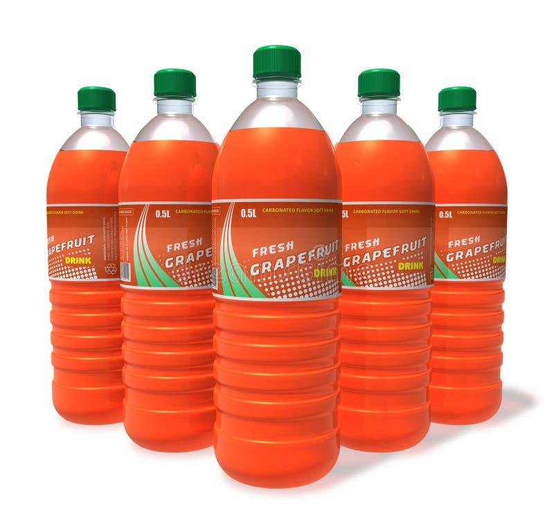 Reeks grapefruitdranken in plastic flessen royalty-vrije illustratie