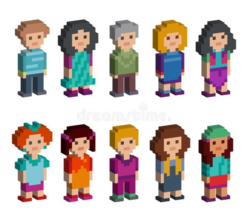 Reeks grappige de stijl isometrische karakters van de pixelkunst vector illustratie