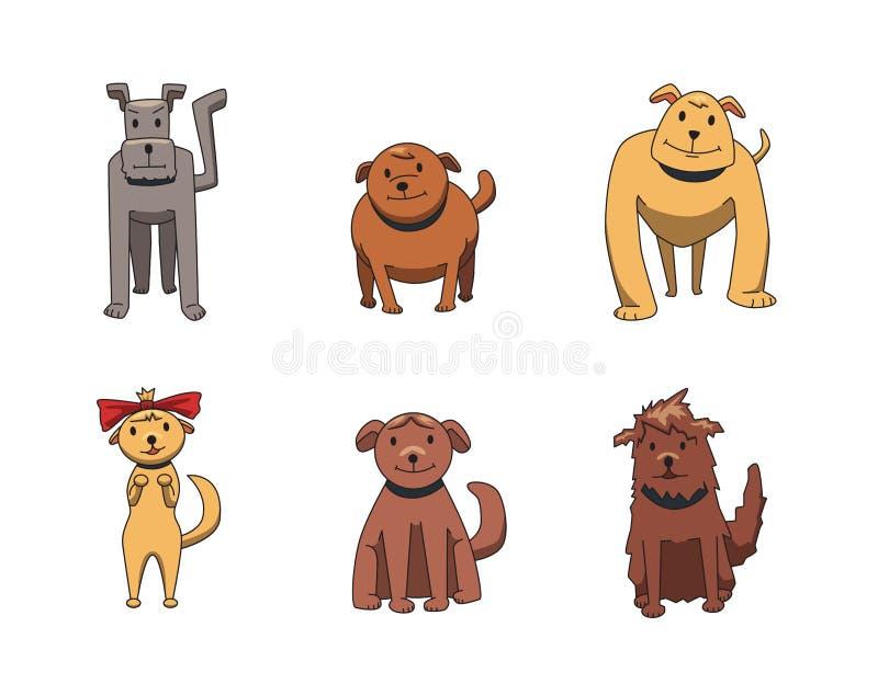 Reeks grappige glimlachende karakters van het hondbeeldverhaal Honden van verschillende soorten Vlakke vectorillustratie Geïsolee stock illustratie