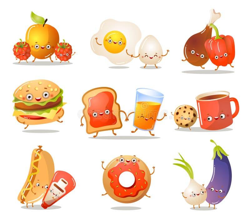 Reeks grappige karakters van het keukenvoedsel in verschillende acties stock illustratie