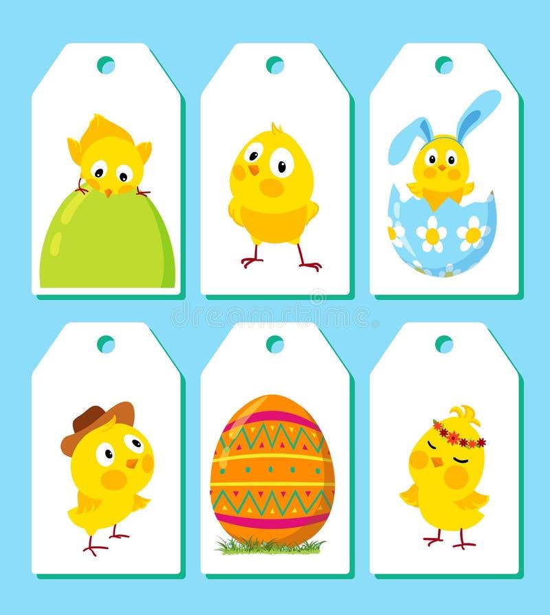 Reeks grappige Pasen-kippen stock illustratie