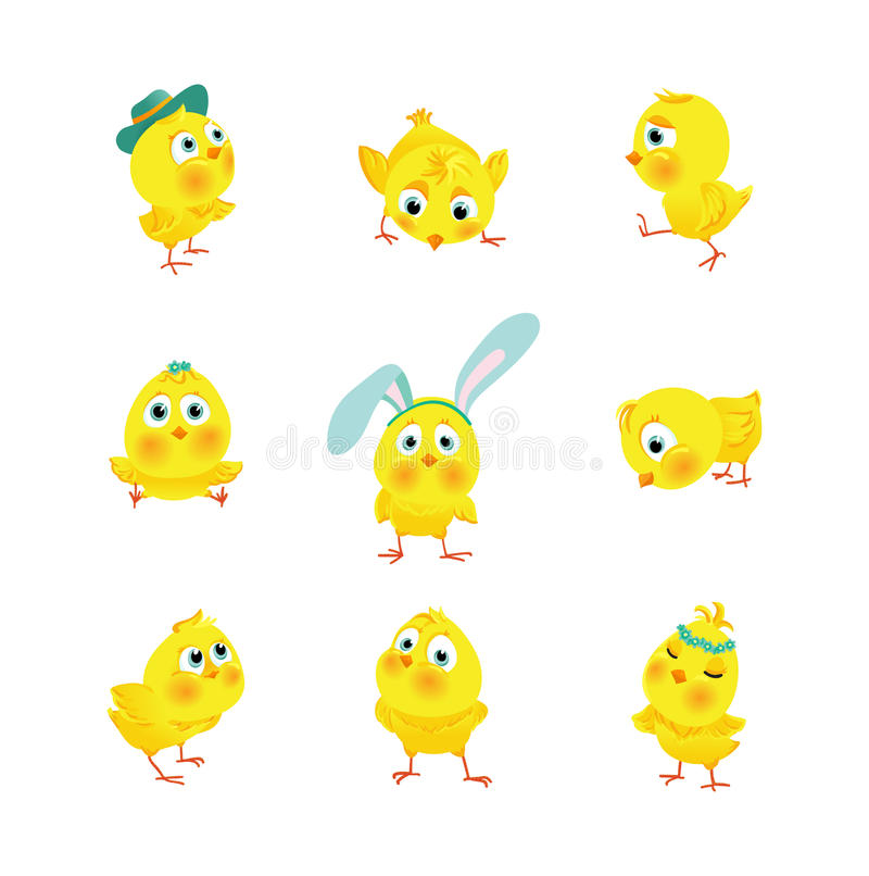 Reeks grappige Pasen-kippen vector illustratie
