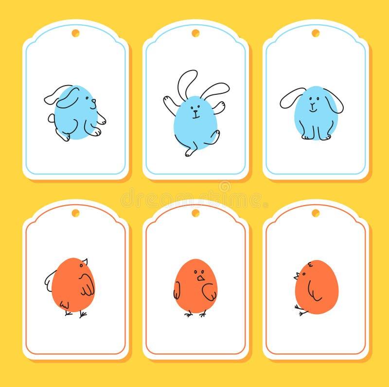 Reeks grappige Pasen-markeringen met konijntje, kuiken vector illustratie