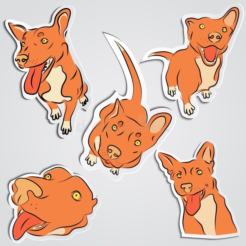 Reeks grappige rode honden royalty-vrije illustratie