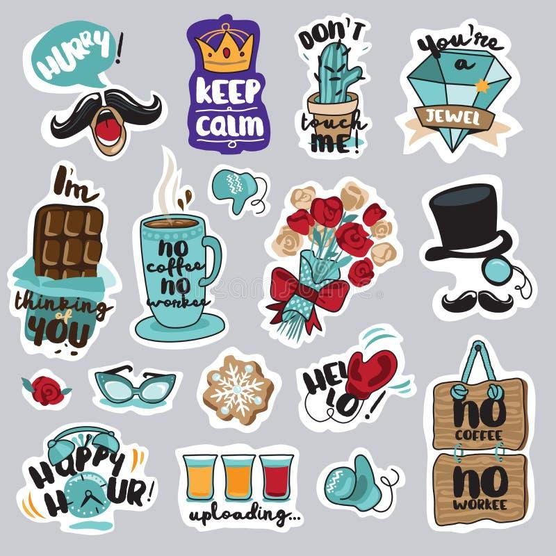 Reeks grappige stickers voor sociaal netwerk royalty-vrije illustratie