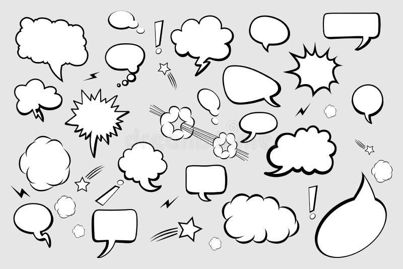 Reeks Grappige Toespraakbellen op grijze achtergrond De bellenpictogrammen van de toespraak De grappige vectorpictogrammen van de vector illustratie