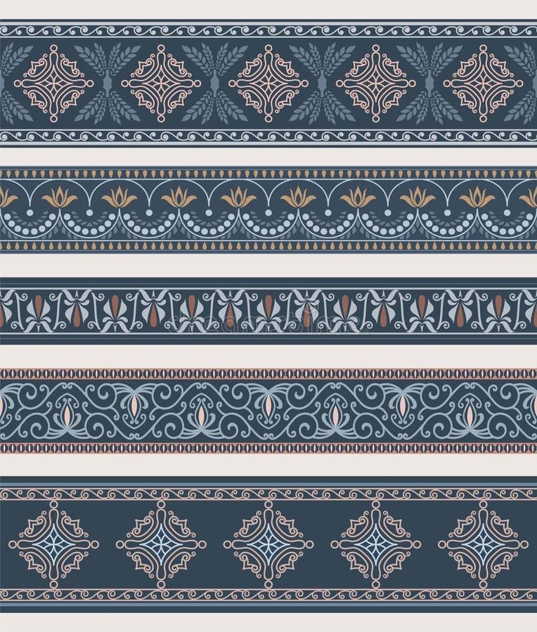 Reeks grenzen, kaders met oude ornamenten vector illustratie